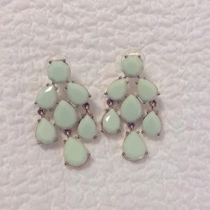 Mint and gold chandelier earrings